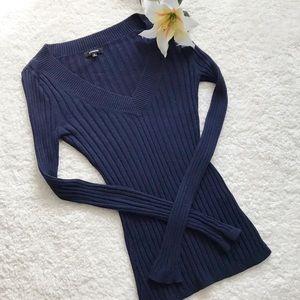 Express Navy Blue Sweater Ribbed V Neck